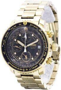 SEIKO-QUARTZ-Chronograph-SNA414PC-SNA414P1-Pilot-Black-Gold-Men-039-s-Watch-JAPAN