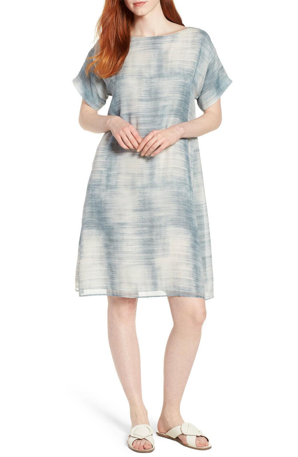 Eileen Fisher bluee Steel DAZE SHEER SILK PRINT Shift Dress, Dress, Dress, Size XXS  258 8efaa8