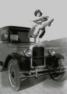 Vintage-Photo-Woman-on-Hood-of-1920-039-s-Cheverolet-Car-Photo-Print-5x7