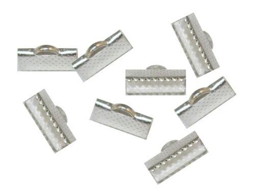 20 Krokodil Endkappen 16mm Metall Silber Verbinder Verschluss  BEST M115
