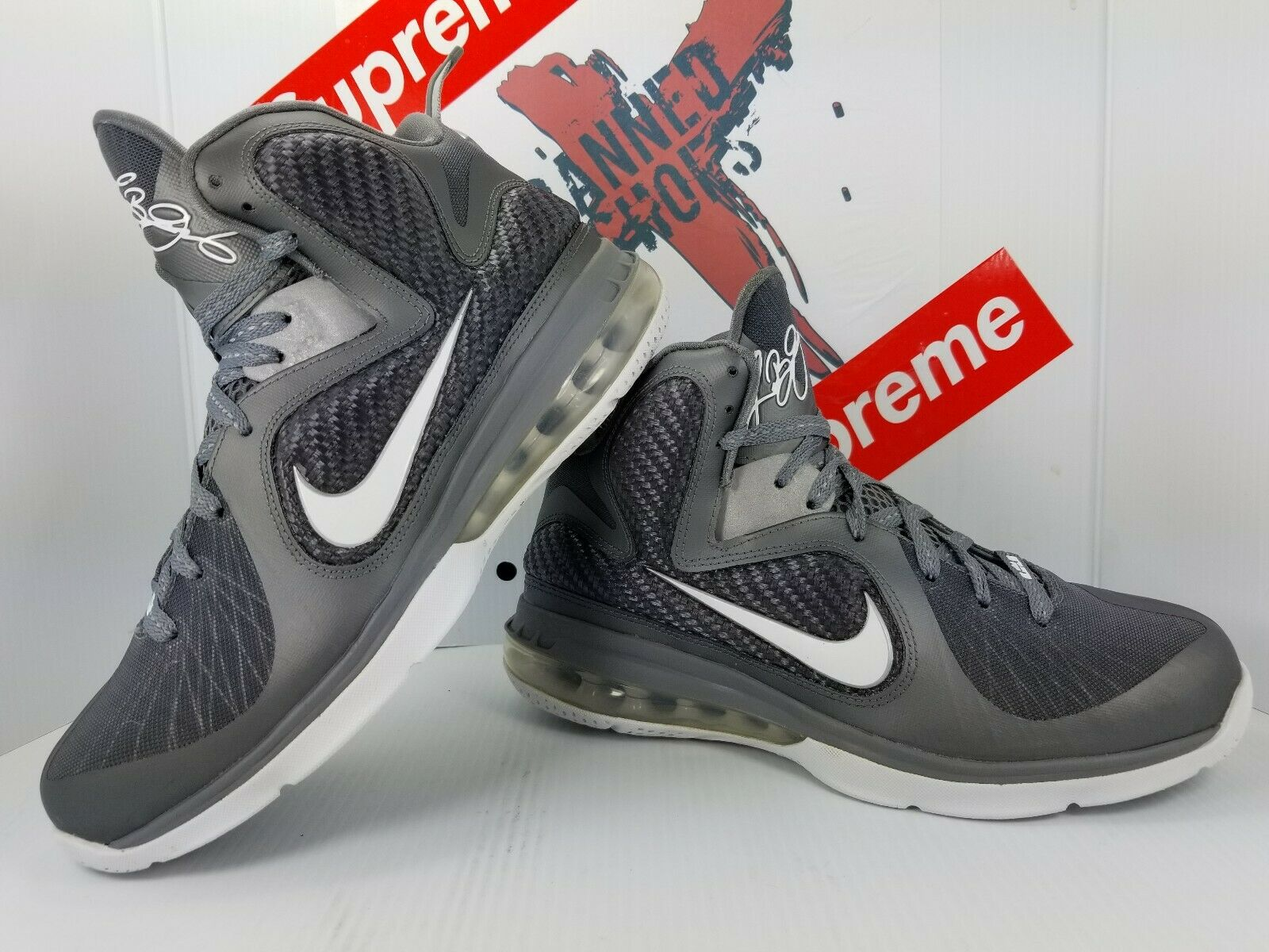 new arrivals 18c6f b6bb4 Nike Lebron 9 IX Cool Grey White Metallic Silver Silver Silver 469764-007  size 8