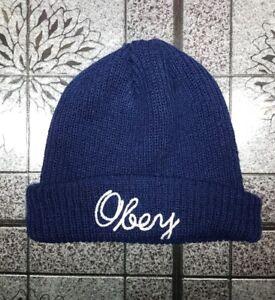 2df3700f6d3 OBEY Beanie Hat Authentic Blue White Mini Knit Unisex Streetwear ...