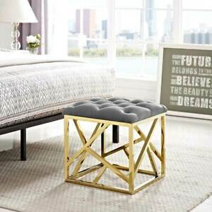 Superb Details About Modern Design Tufted Ottoman W Gold Stainless Steel Finish Gray Fabric Seat Customarchery Wood Chair Design Ideas Customarcherynet