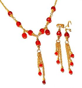 Red-Necklace-Clip-On-Earring-Set-Glass-Bead-Gold-Tone-Chain-Choker-Prom-Bridal