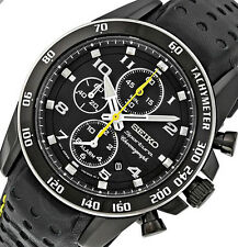 $495 Seiko Chronograph Sportura Leather Band Mens Date Watch SNAE67 DISPLAY ITEM