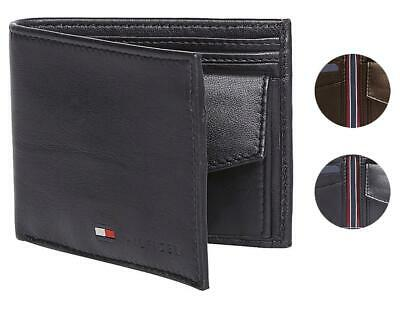 Tommy Hilfiger Men/'s Premium Leather Id Credit Card Coin Wallet Black 31Tl25X020