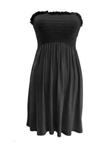 Ladies Plain And Printed Sheering Bandeau Boob Tube Top Women Mini Fancy Dress