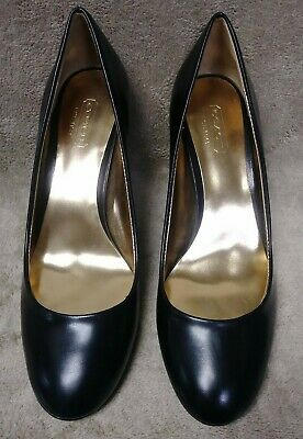 new coach salma black patent leather round toe heel pumps