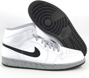 15c73d250f05 Nike Air Jordan 1 One Mid White Cement Wolf Grey Black 554724-115 ...