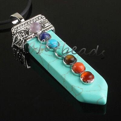 Charm Silver Plated Precious Gemstone Sword Chakra Healing Pendant Jewelry Gift