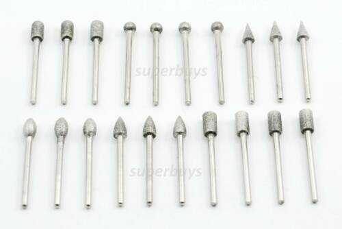 20pc 6mm Head Diamond Burr Deburring Manicure Nail Rotary Drill Bit Tool Set