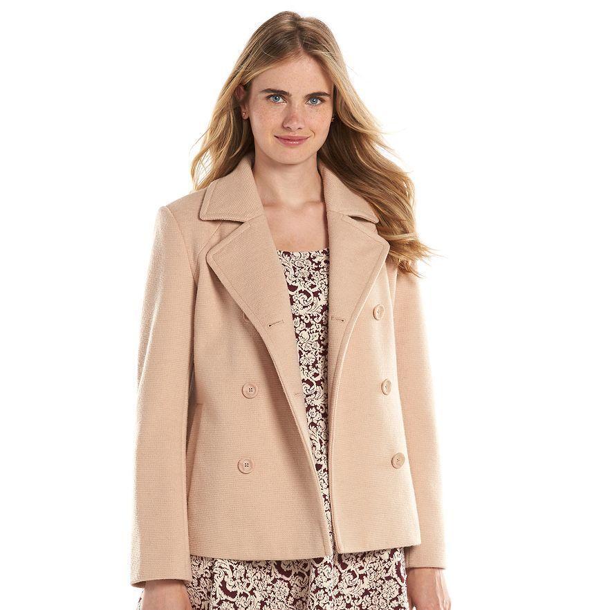 New LC Lauren Women Conrad Wool-Blend Peacoat Pastel pink Tan Size 4 Msrp