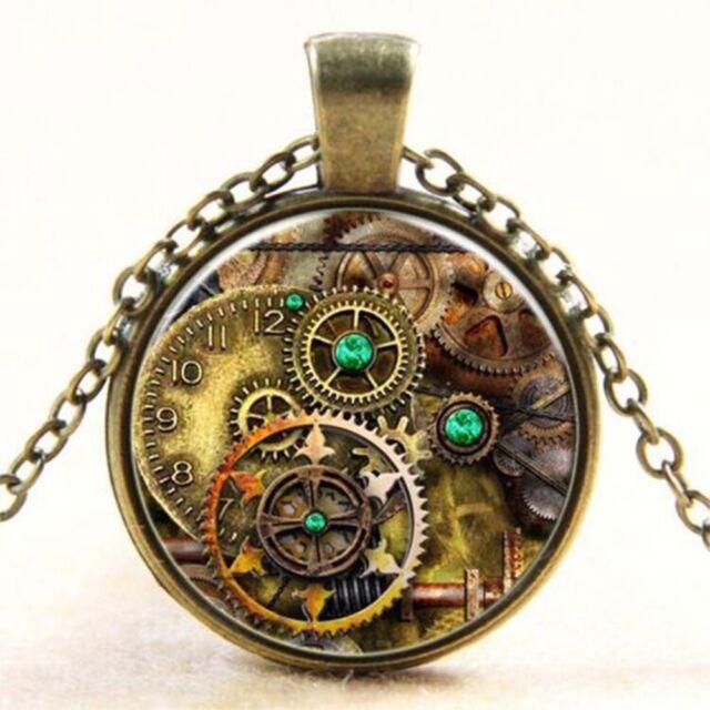Necklaces Metal Punk Gear Dial Plate Steampunk Time Gem Glass Cabochon Pendant