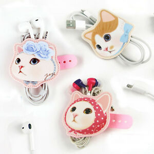 So Cute Jetoy Kitty Earphone Winder Cable Cord Organizer Holder Headphone Tie