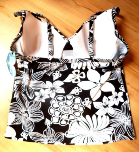 Gorgeous Wired//Padded  Black/& White  Tankini Top Size 14 C//D By Hot Honi NWT