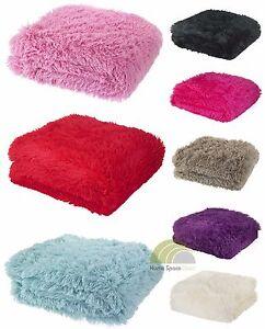 fellimitat berwurf decke oder kissen deckel shaggy kuschelig weich ebay. Black Bedroom Furniture Sets. Home Design Ideas