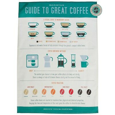 dotcomgiftshop COFFEE LOVERS PRINTED COTTON TEA TOWEL