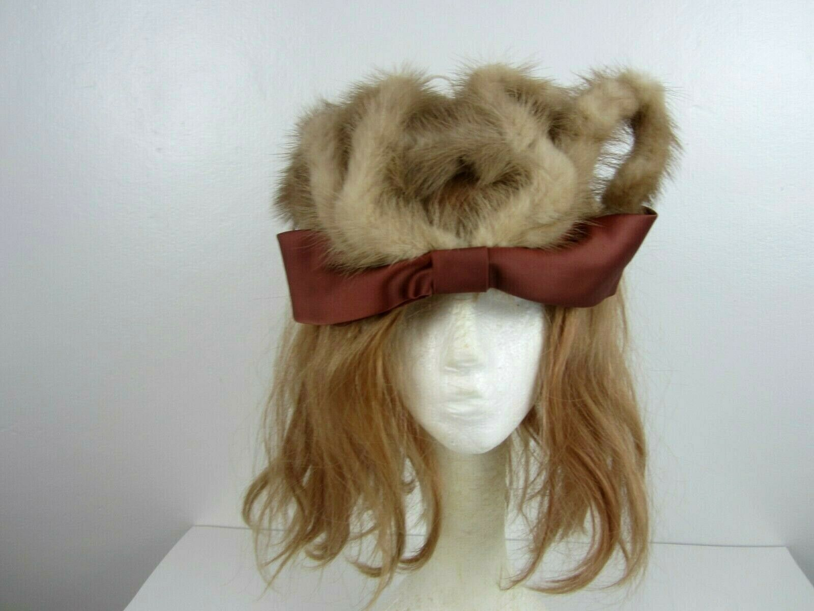 Crown Hat 1920's VINTAGE Real Mink Fur Bow Trim Wear on Forehead Unique, Rare
