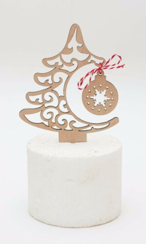 Christmas tree shaped with bauble MDF wood rustic style Christmas cake topper