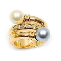 Bague T58 Perles Tahiti Et Blanche Pavé Diamant Plaqué Or 18k De Dolly-bijoux