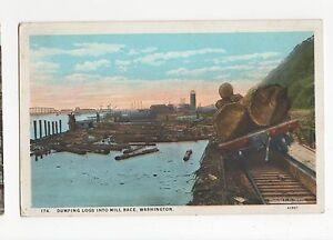USA-Washington-Dumping-Logs-Into-Mill-Race-Postcard-A560