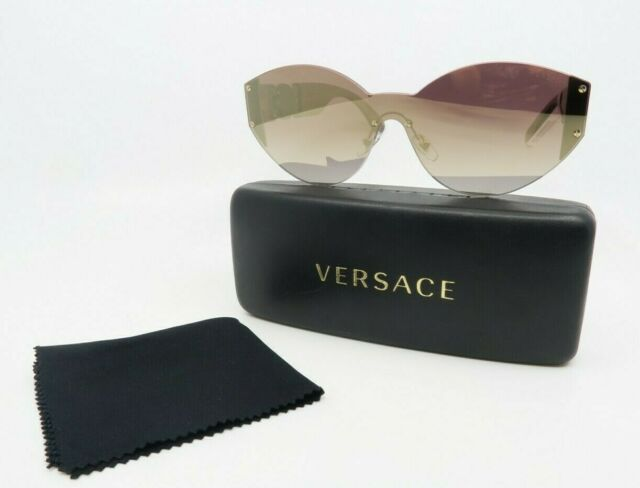 Versace MOD 2224 5340/6K New Gold Shield Mirrored Sunglasses with case