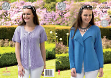 King Cole Ladies Double Knitting DK Pattern Easy Knit Cardigans Jackets 4343
