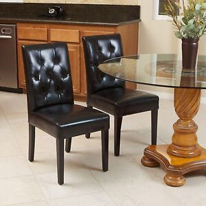 Set of 2 Elegant Black Leather Dining Room Chairs With Tufted ...