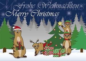 5 postkarten weihnachtskarte erdm nnchen am weihnachtsbaum. Black Bedroom Furniture Sets. Home Design Ideas