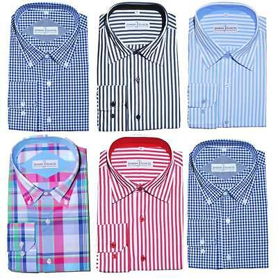 Herzhaft Mens Formal Check Stripe Button Down Regular Fit Shirt 100% Cotton S-4xl 15'-19'