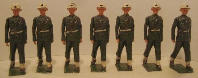 7 Antique Metal Toy Soldiers Military Police 2  1 4  Britains Moving Arms 1930s