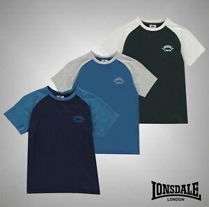Junior-Garcons-de-marque-LONSDALE-Manches-Courtes-Raglan-T-Shirt-Top-Taille-7-13-Ans