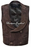 'edwardian' Men's Brown Steam Punk Victorian Real Suede Leather Waistcoat