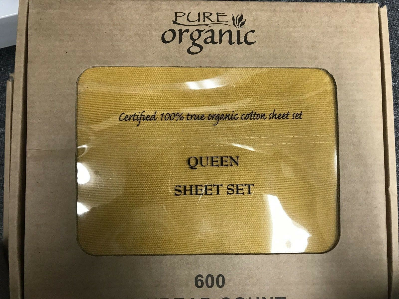 4pcs 100% Organic Cotton Bed Sheet Set 600 TC, Champagne gold Queen