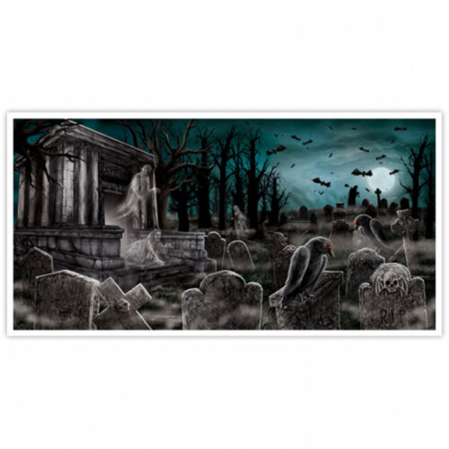 1 of 1 gothic halloween dead end cemetery graveyard party wall poster banner decoration