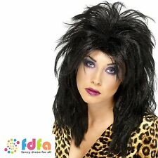 1980s BLACK LONG TOUSLED KIM WILDE POPSTAR WIG ladies womens fancy dress costume