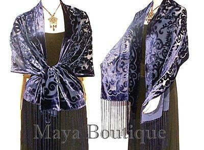 Shawl Wrap Scarf Burnout Velvet Art Nouveau Oblong Dark Blue Maya Matazaro