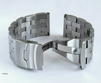 22mm SOLID Brushed Double Lock Stainless Steel Watch Bracelet Fit smartphone