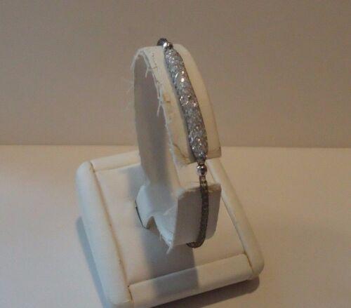 ITALIAN BLK RHODIUM OVER 925 STERLING SILVER MESH CENTER BRACELET W// LAB DIAMOND