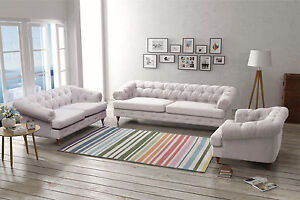 Image Is Loading New Quality Fabric Linen Chesterfield Light Grey Sofa