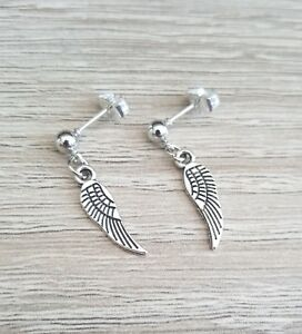 Details About Silver Angel Wing Earrings Studs Post Guardian Angels Goth Gothic Gift Present