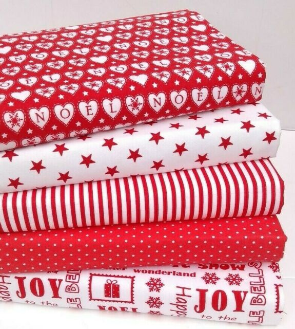 CHRISTMAS FABRIC BUNDLE REMNANTS SQUARES RED /& WHITE NORDIC SCANDINAVIAN 8 PIECE