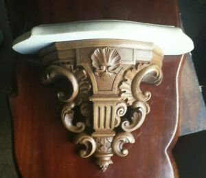 Syroco-Faux-Wood-Shelf-with-Cultured-Marble-top-10-1-2-034-Vintage-1981-3534