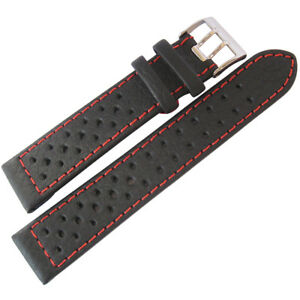 22mm-Di-Modell-Rallye-Mens-GT-Rally-Black-Red-Stitched-Leather-Watch-Band-Strap