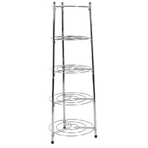 Five-Tier-Kitchen-Pan-Stand-Saucepan-Pot-Rack-Holder-Chrome-New-By-Home-Discount