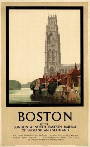 Vintage LNER Boston Railway Poster A3 Print