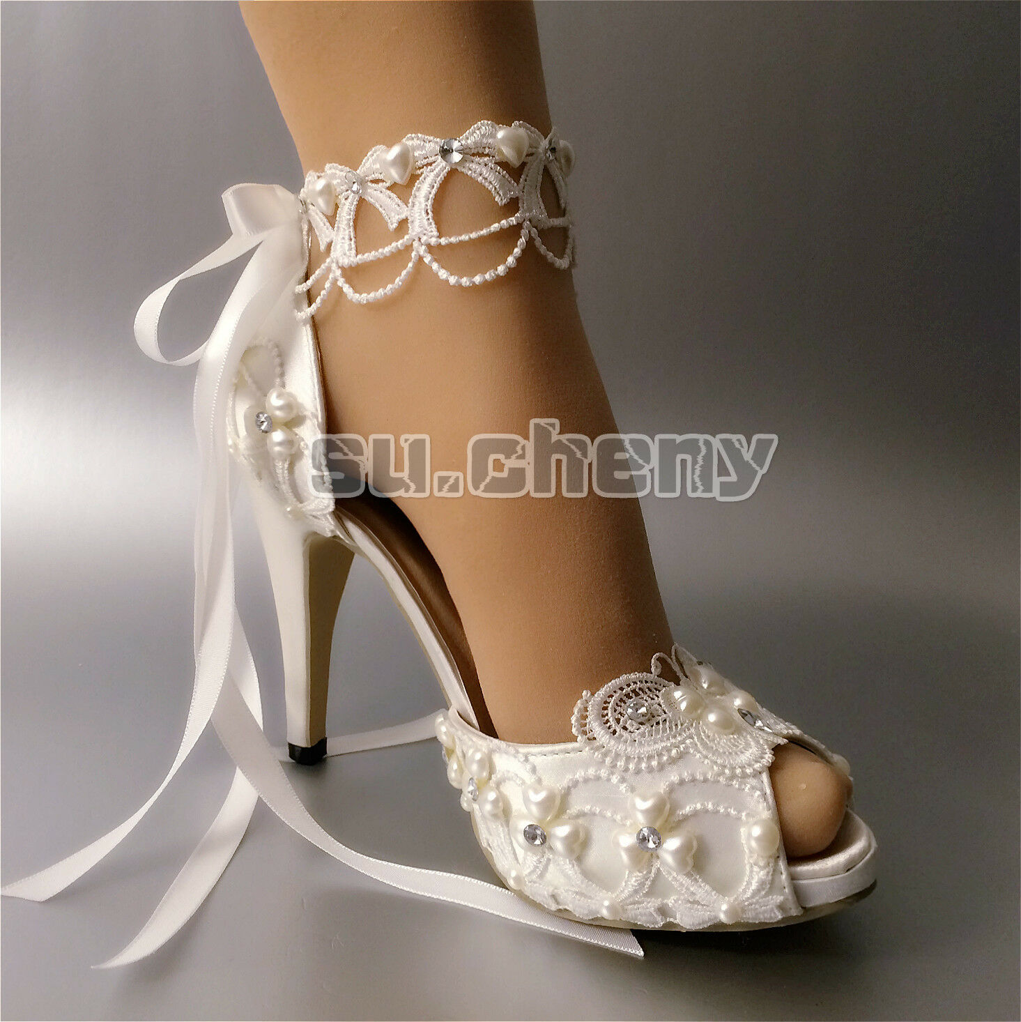 "Su.cheny Open toe 3  4"" ribbon heel Weiß ivory satin lace ribbon 4"" Wedding Bridal schuhe cfa656"