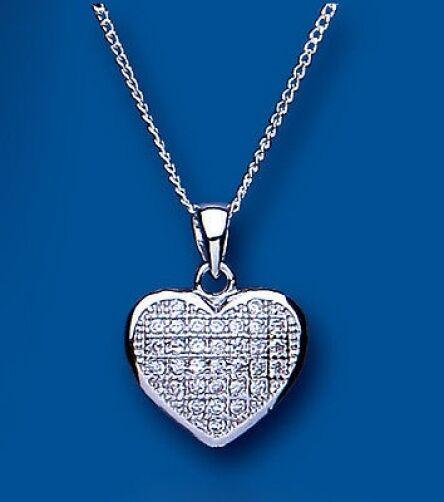 Ciondolo a cuore argentoo sterling zircone cubico Set micro pavé pavé pavé & CATENA 7411f6