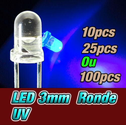 dispo 10 207UV# LED 3mm UV ronde 25 ou 100pcs