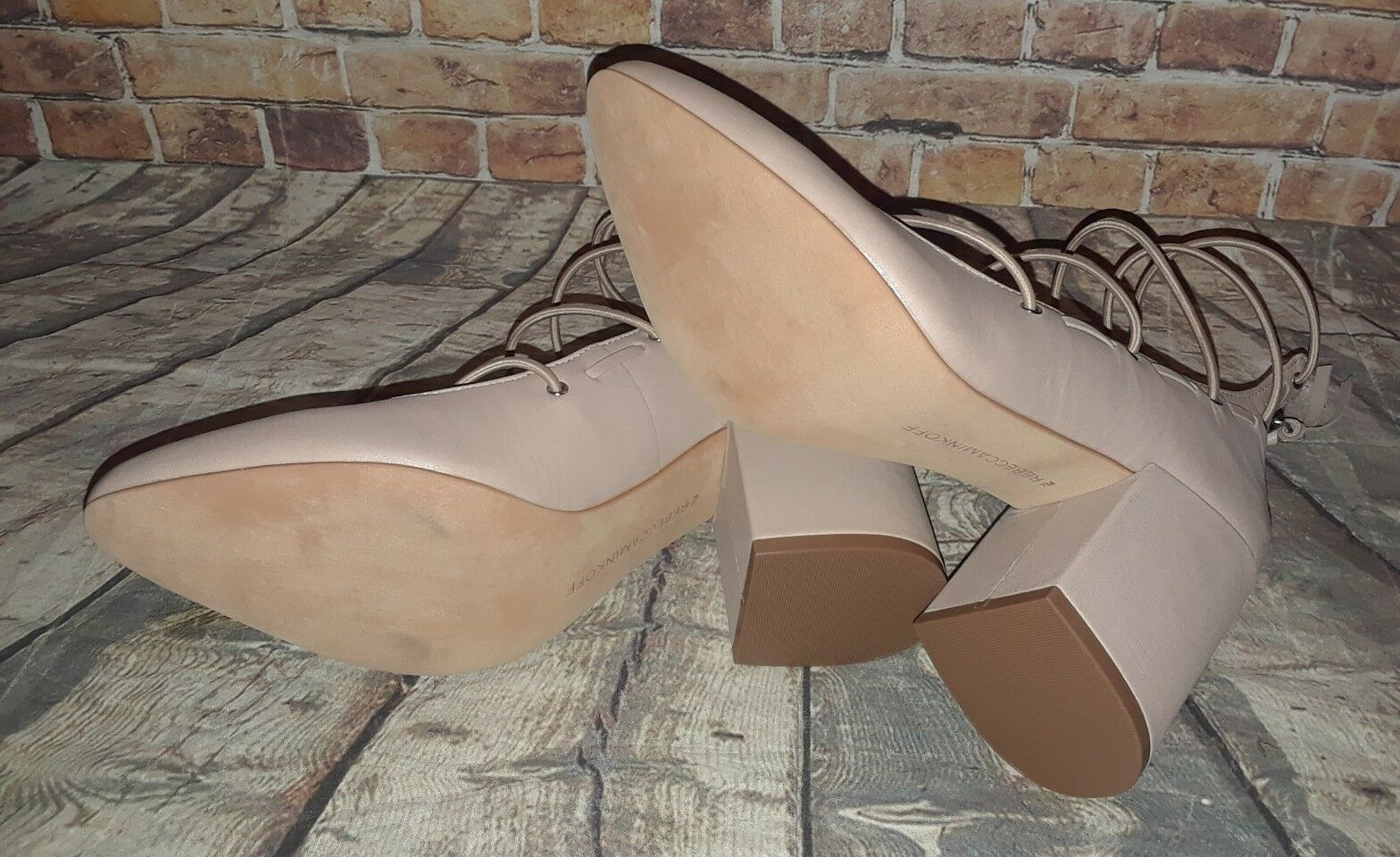 Rebecca Minkoff  Lexi    Latte Nude Leather Strappy Block Heel Pump Taille 7M 620be7